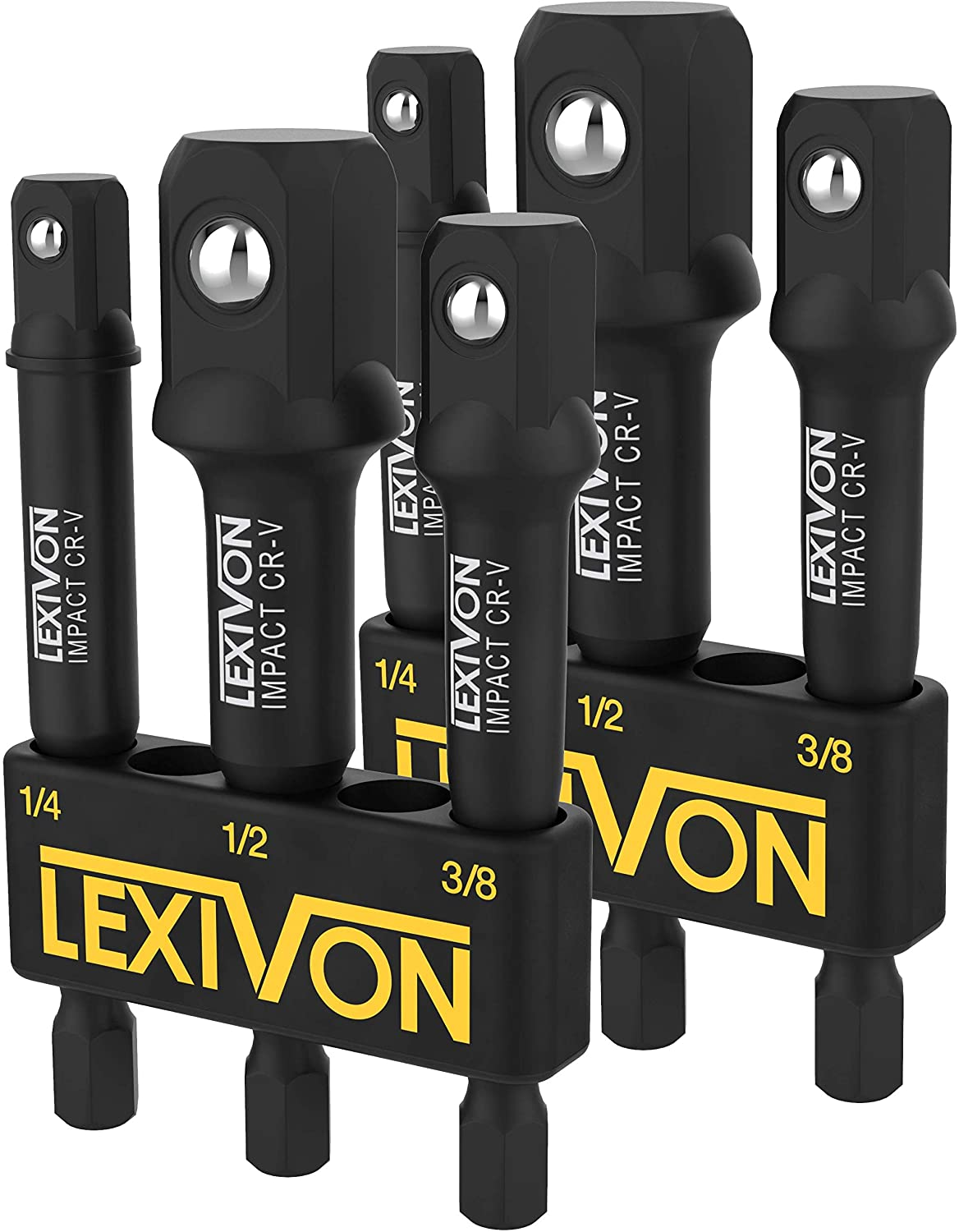 "LEXIVON [2-Pack] Impact Grade Socket Adapter Set, 3"" Extension Bit With Holder 