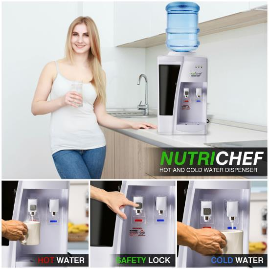 NutriChef Water Dispenser | Hot & Cold Water Cooler (PKTWC10WT)
