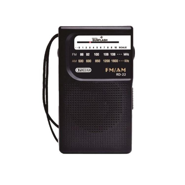 Digital Sunflash Radio Built-in Speaker and Headphone Jack, Telescoping Antenna, Powered by 2 x AA batteries (RD22)