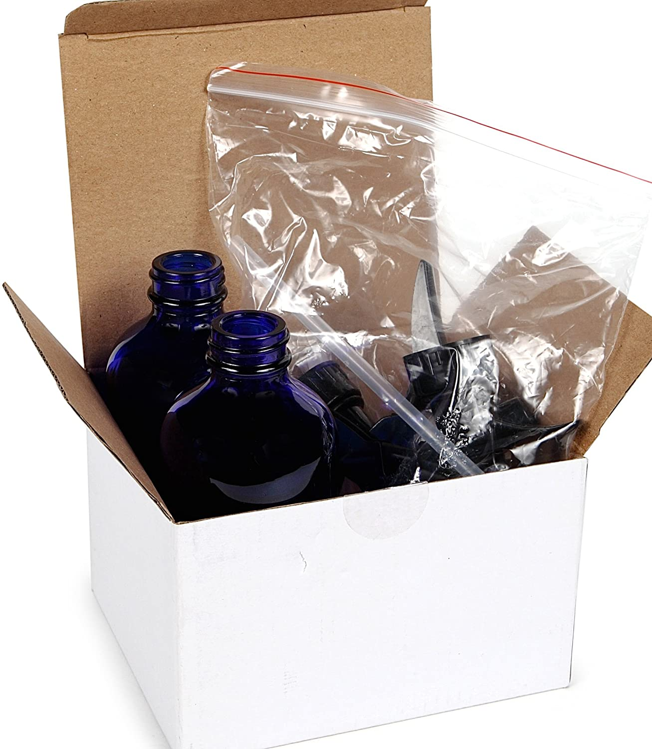 Vivaplex, 2, Large, 8 oz, Empty, Cobalt Blue Glass Spray Bottles with Black Trigger Sprayers