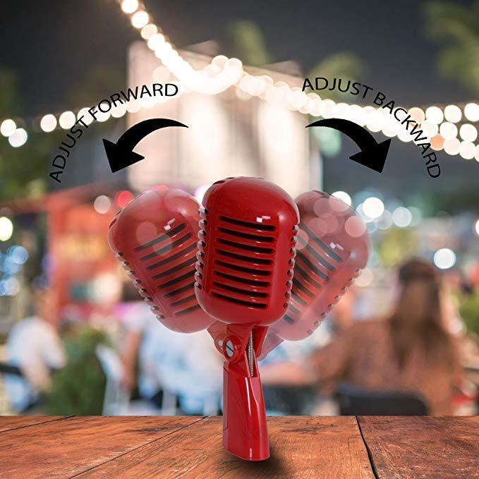 Pyle PDMICR42R Classic Retro Vintage Style Dynamic Vocal Microphone with 16ft XLR Cable (Red)