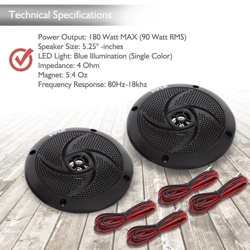 Waterproof Rated Marine Speakers, Low-Profile Slim Style Speaker Pair with Built-in LED Lights, 5.25''-inch (180 Watt)