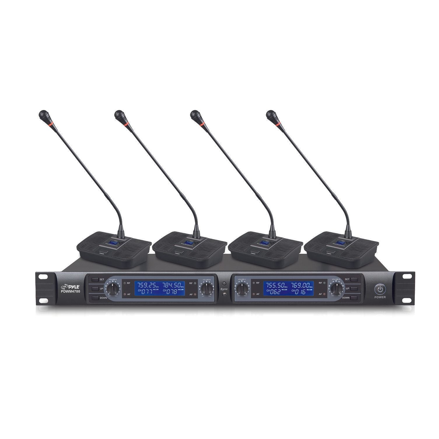 Pyle 4 Ch UHF Wireless Conference Microphone System Desktop/Table & Rack Mountable Base 200 Selectable Frequency Channels Independent Volume Controls LCD Display AF & RF Signal Indicators (PDWM4700)