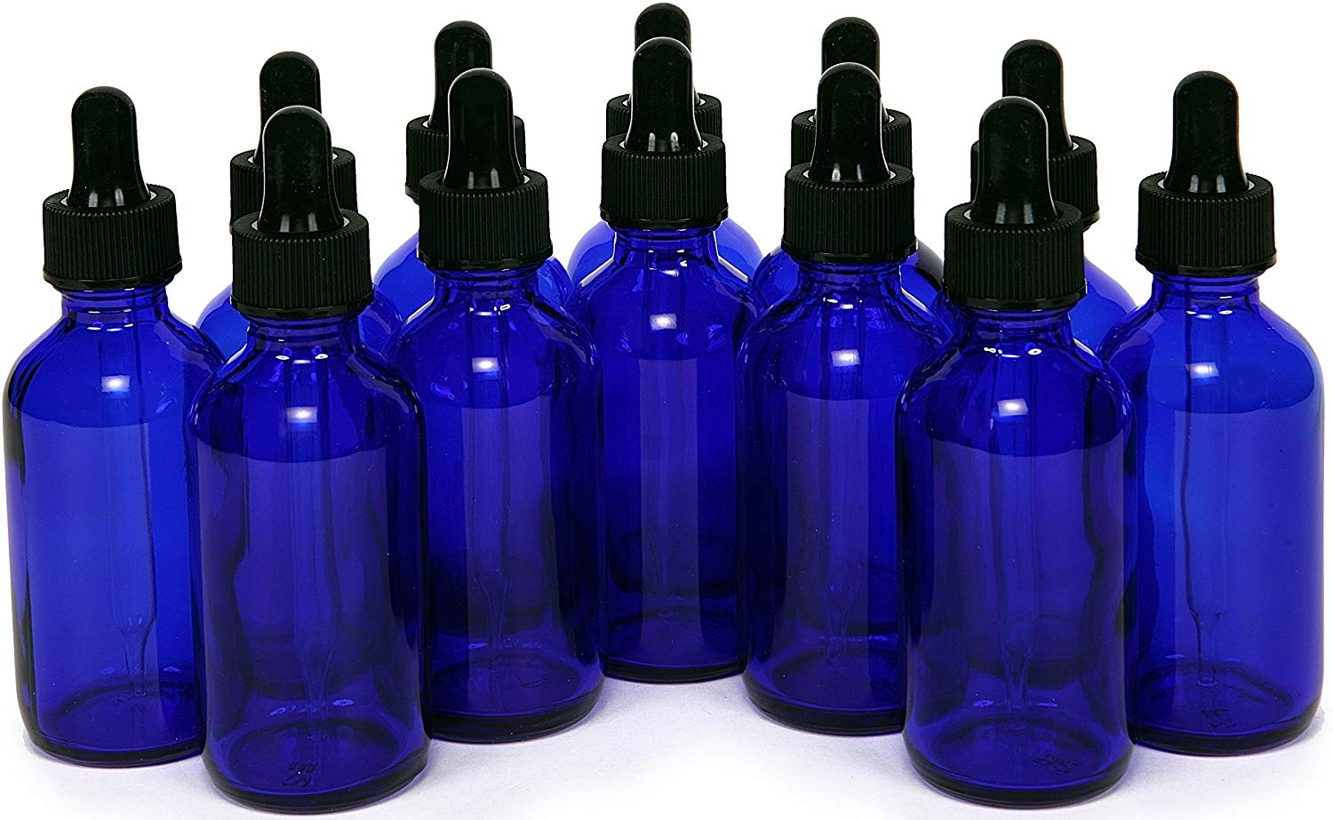Vivaplex 2oz Glass Refill Bottles, Glass Eye Droppers - Set of 12 - Cobalt Blue (VCD2-12)