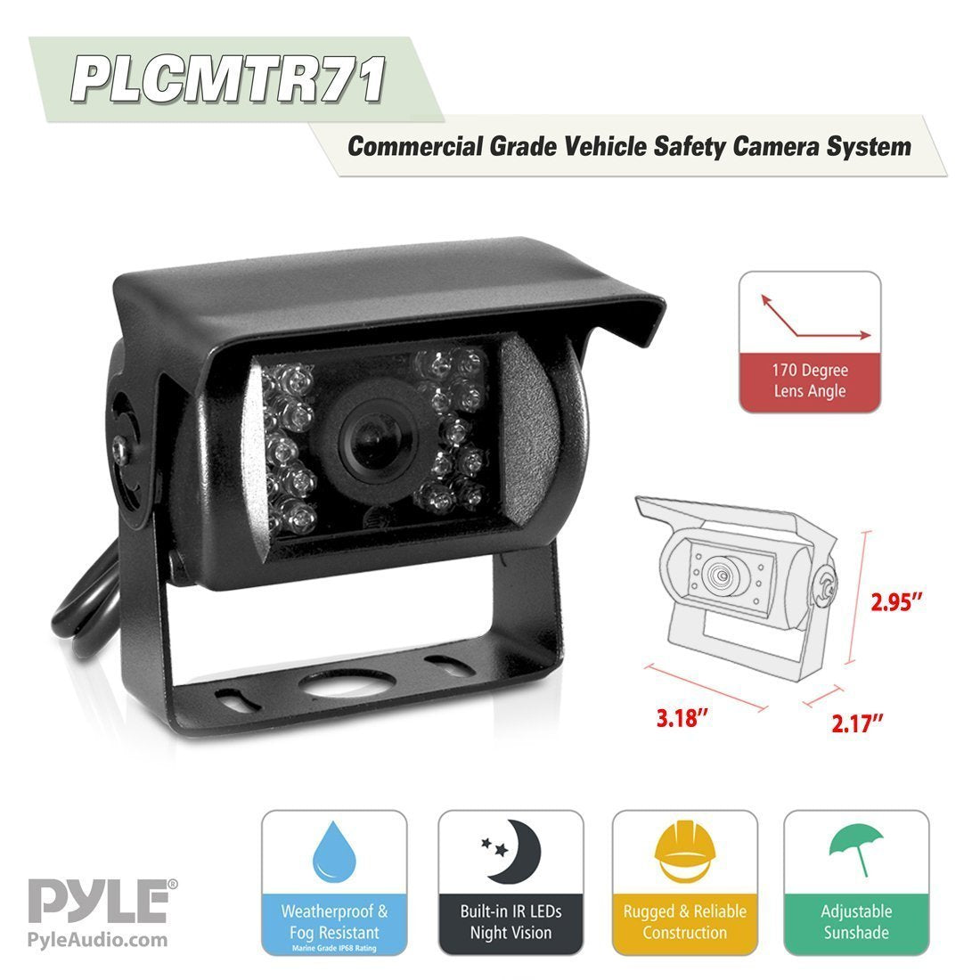 Pyle Weatherproof Rearview Backup Camera & Monitor Video System, Commercial Grade (PLCMTR71)