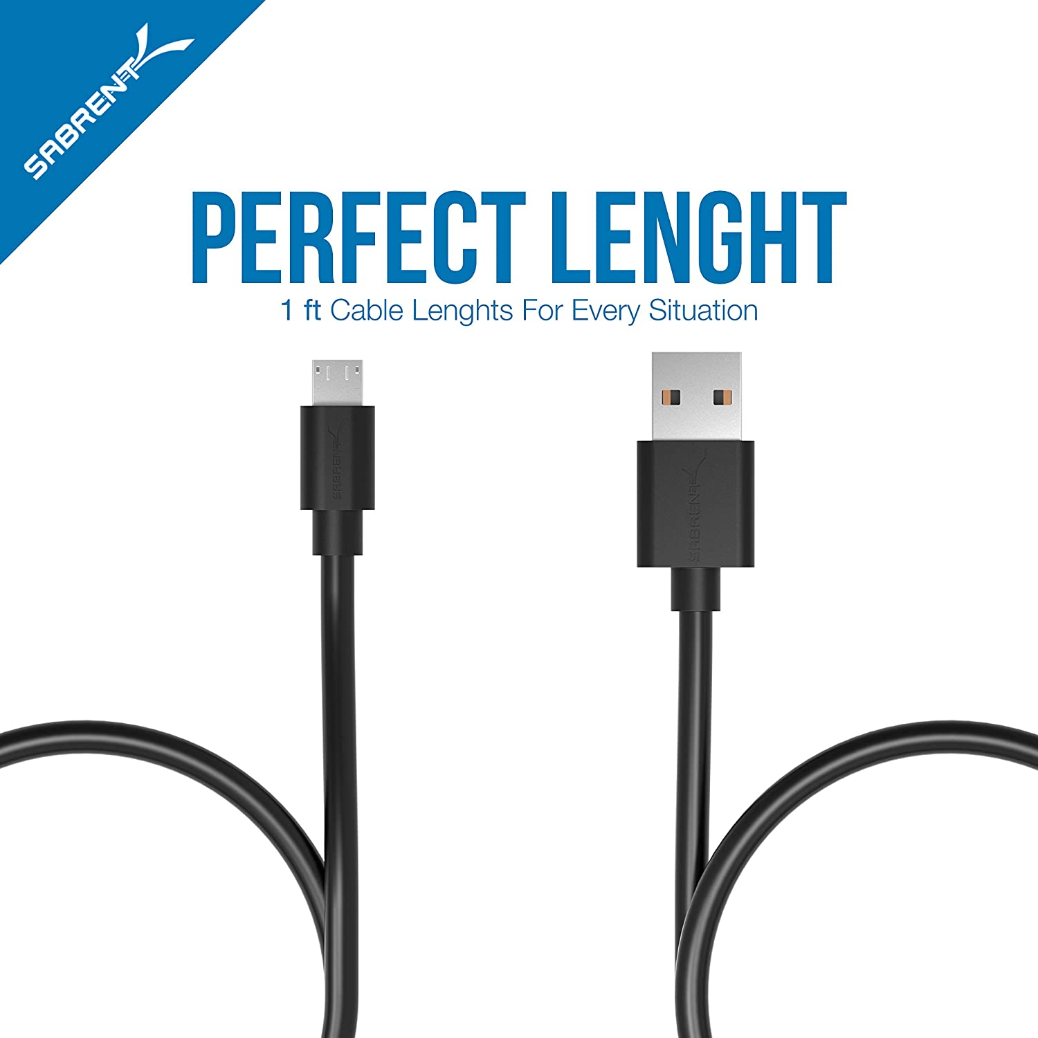 Sabrent 22 AWG Premium High Speed Micro USB to USB 2.0 Cables, 1 Ft. - Pack of 6 (CB-UM61)