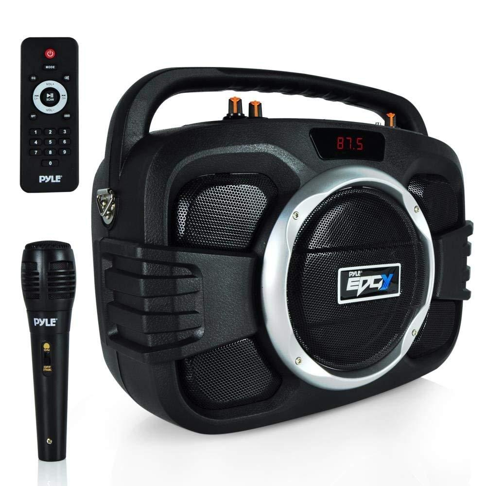 Pyle Bluetooth Boombox Speaker System, Microphone, FM Radio, (PWMA245BT)