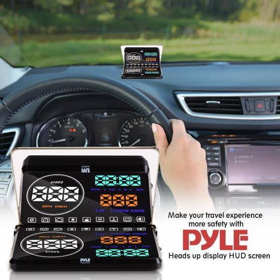 Pyle Heads Up Display HUD Screen - Vehicle Speed & Diagnostic HUD Monitor System (PHUD18OBD)