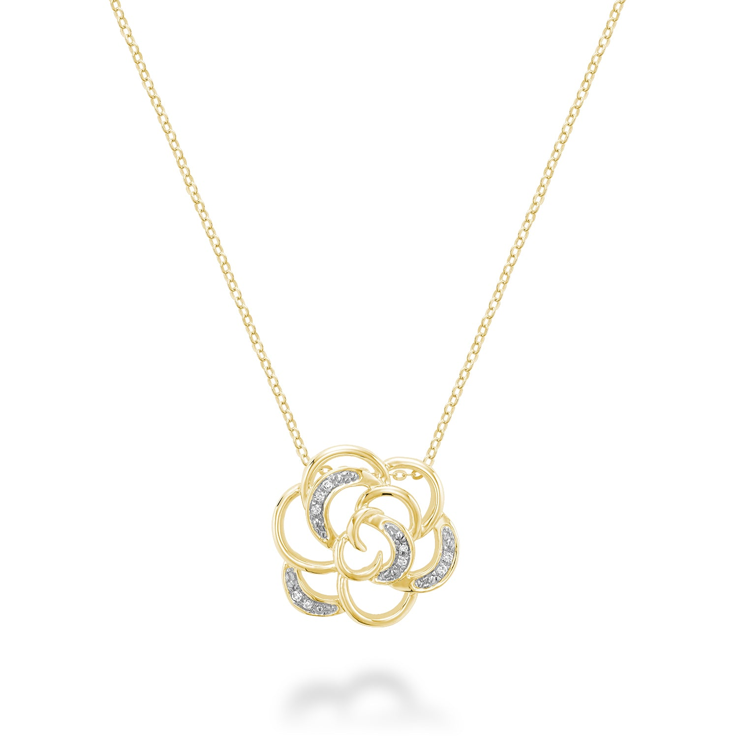 Rose Flower Diamond Pendant