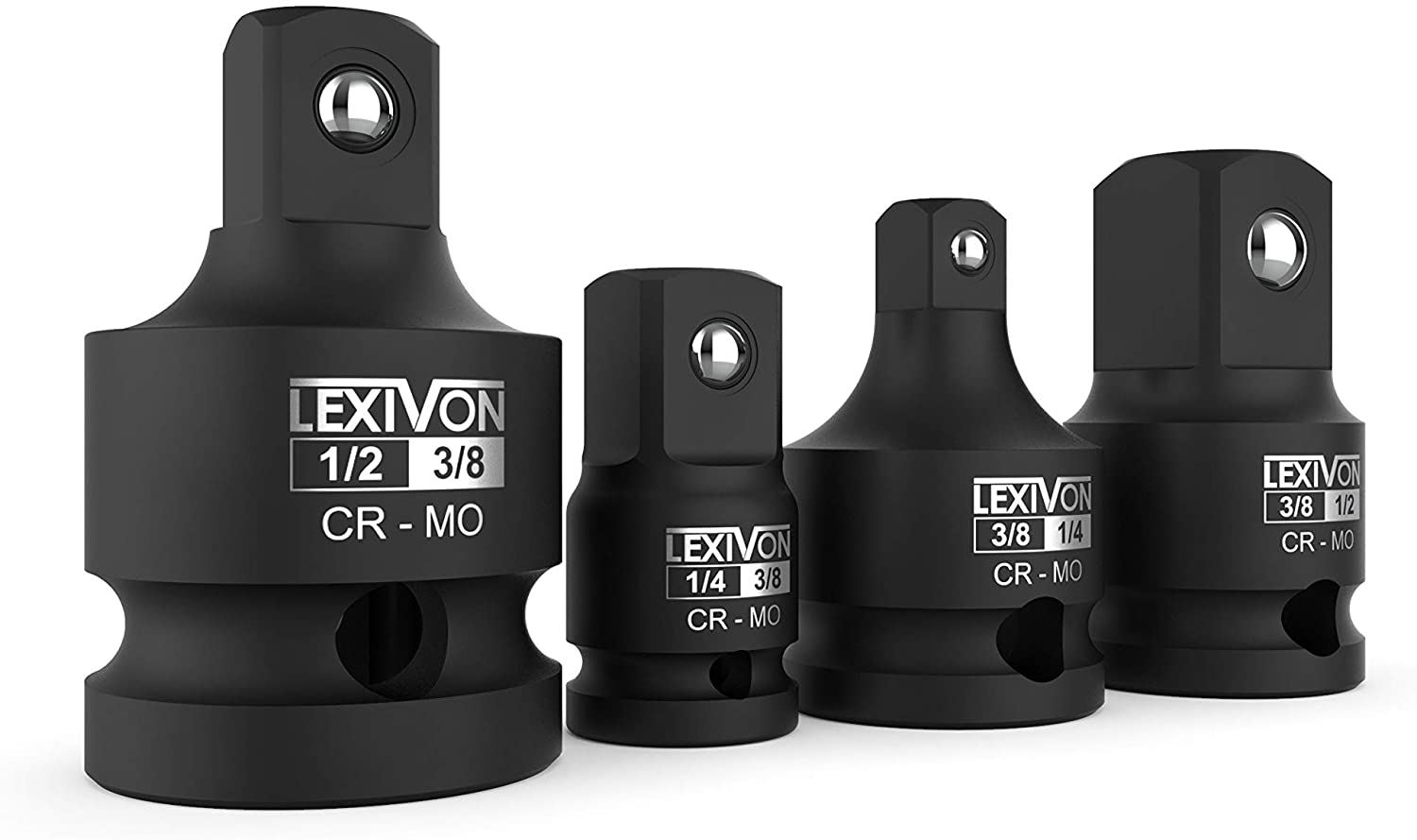 "Lexivon Adaptors & Reducers For Impact Sockets, 1/4"" 3/8"" 1/2"" 1/2"", Steel Alloy - Set of 4 (LX-112)"