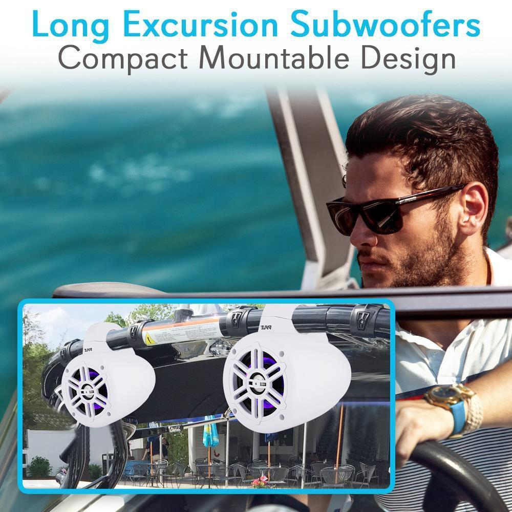 Waterproof Rated Bluetooth Marine Tower Speakers - Wakeboard Subwoofer Speaker System with Wireless Music Streaming & LED Lights (4�' -inch, 300 Watt)