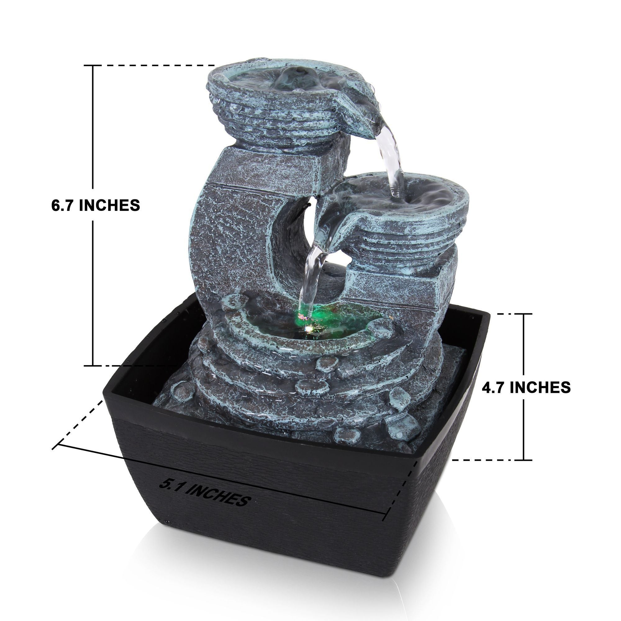SereneLife 3-Tier Desktop Electric Water Fountain, LED, (SLTWF60LED)