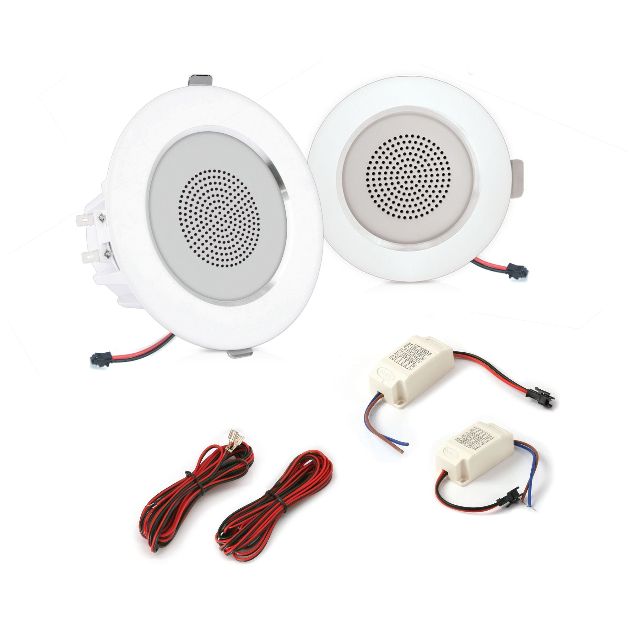 "Pyle Pair of 4"" 2-Way Home Speaker System, In-wall/Ceiling, LED Lights, 2 Ch. Amplifier (PDICLE4)"