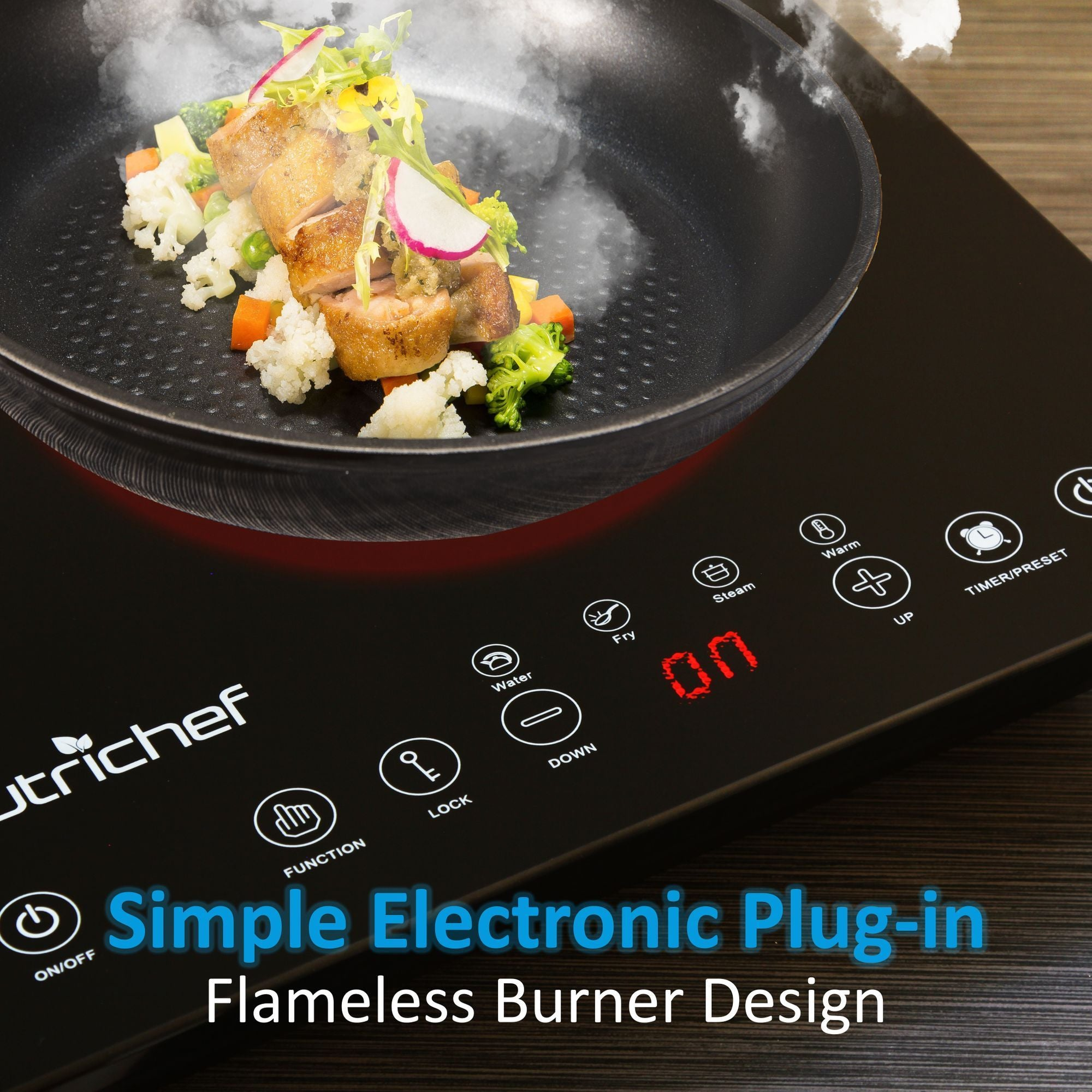 NutriChef Dual Induction Cooktop - Double Countertop Burner with Digital Display (PKSTIND48)