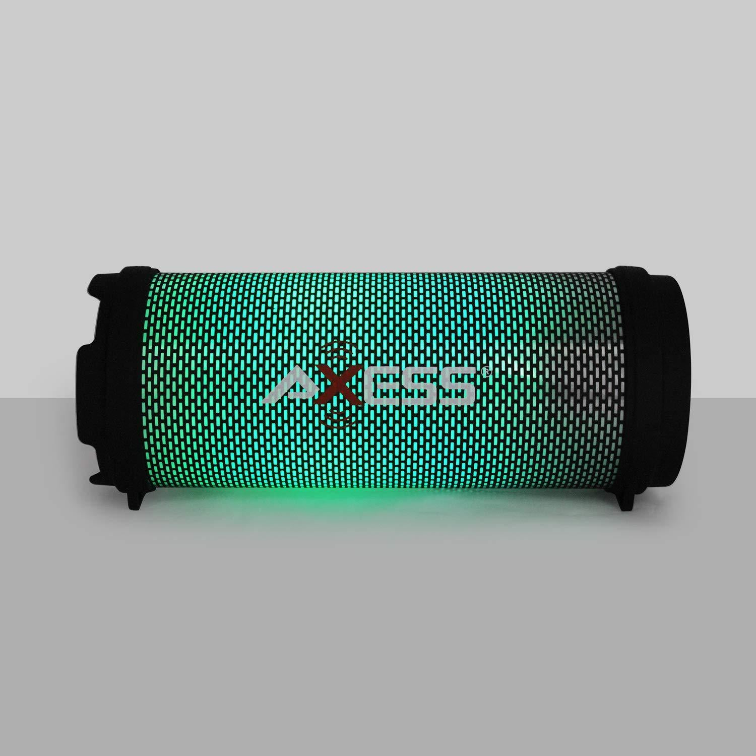 AXESS SPBL1043 Mini Portable Bluetooth Hi-Fi Bluetooth Speaker with Dancing LED Lights, Black