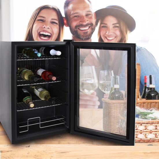 NutriChef Compact Beverage Fridge Cooler Wine Bottle & Can Beverage Chilling Refrigerator (PKTEBC70)