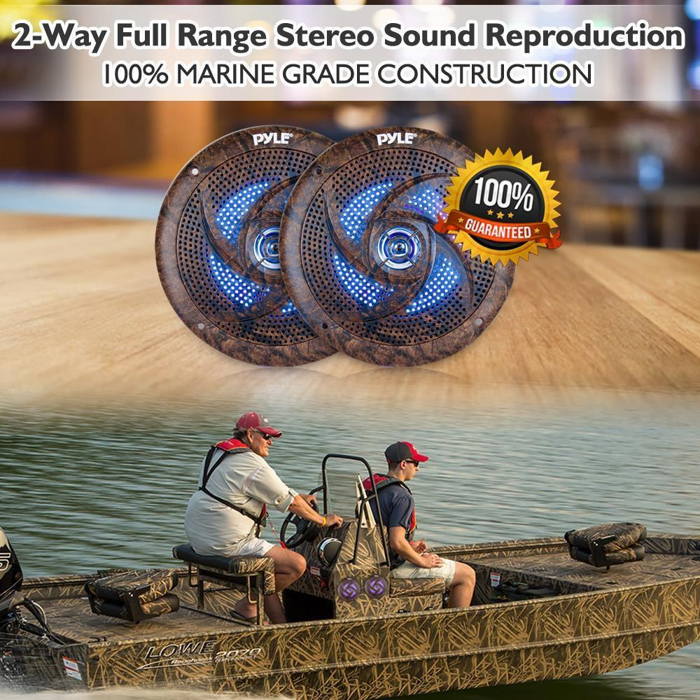 Pyle Pair of 2-Way Stereo Speakers, Slim Style, For Boats, Off-Road Vehicles, LED Lights, 6.5'' - Camo (PLMRLE64DK)