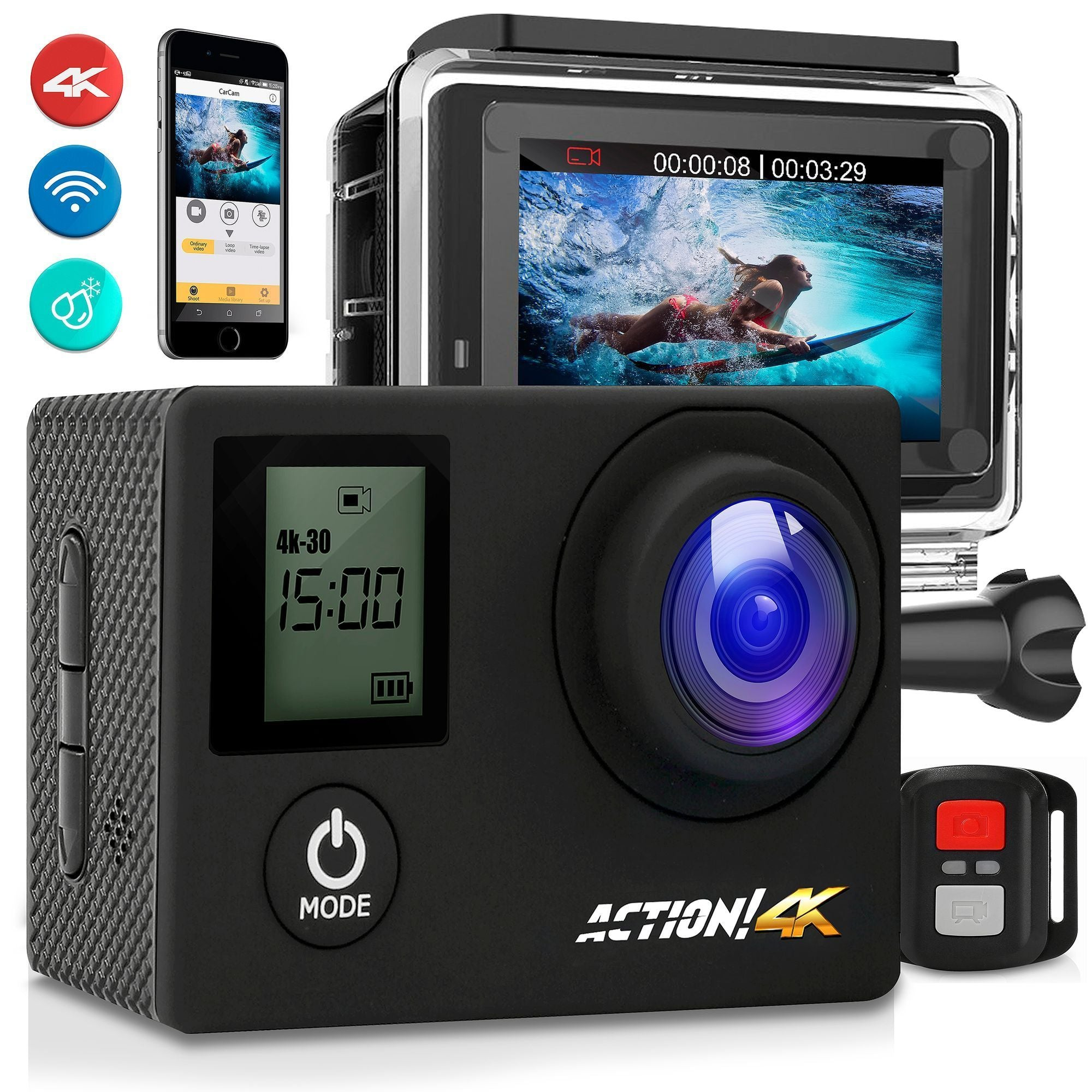 "SereneLife 4K Ultra HD WiFi Pro Sport Action Camera - 1080p UHD Sports Mini Digital Video Camcorder Kit w/ 2"" Monitor Screen - Waterproof Case, Strap, Helmet Mount Accessories Included - SL4KDSBK"
