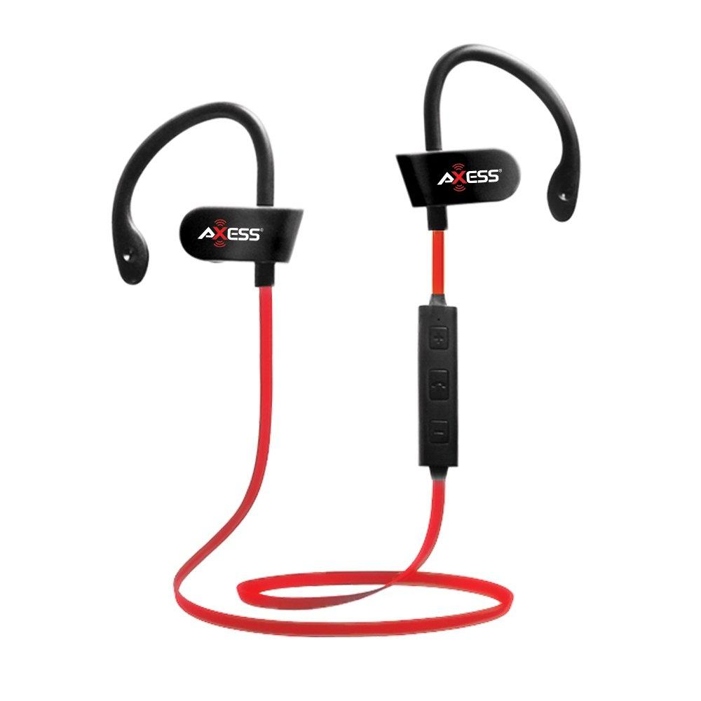 AXESS Splash Proof Wireless Bluetooth Earbuds IPX4 with Built-in Rechargeable Battery, RED (EPBT104RD)