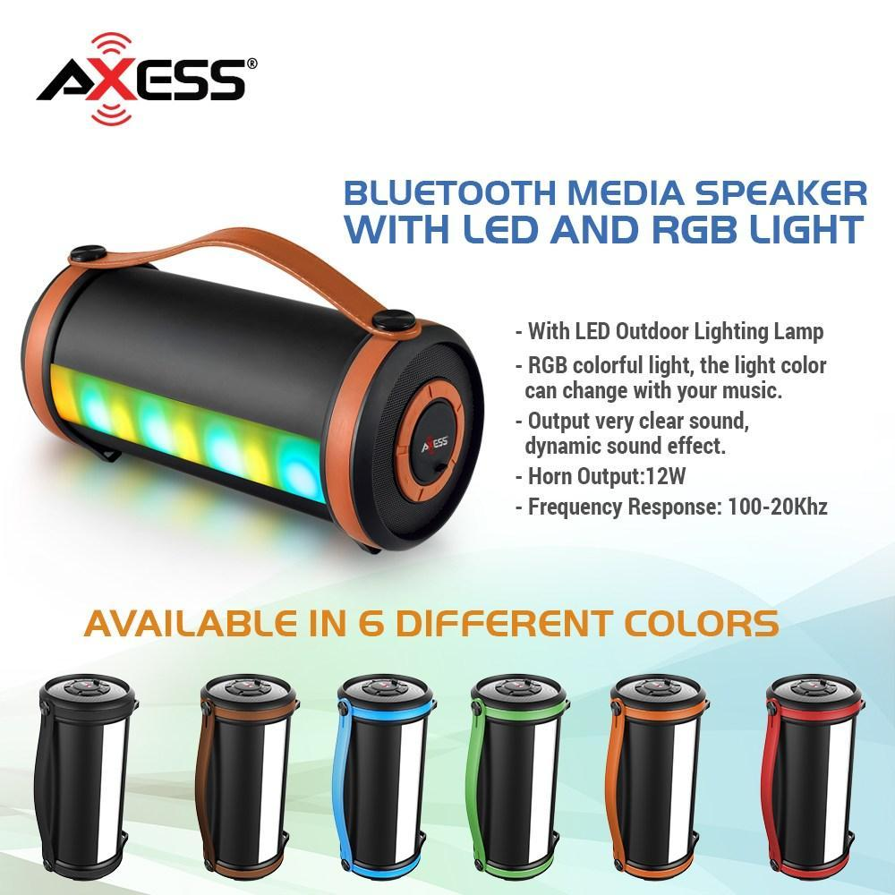 AXESS  Portable Bluetooth Rechargeable Speaker with LED and RGB Lighted Panels and Built-in FM Radio in Red (SPBT1054RD)