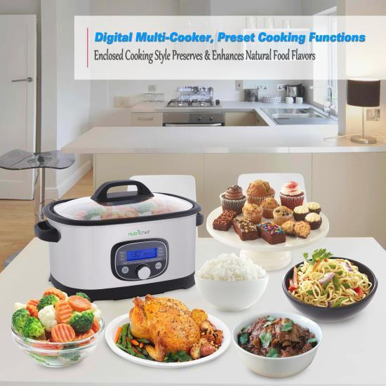 NutriChef Digital Multi-Cooker, Preset Cooking Functions with Sous Vide Mode, Stainless Steel (PKPC35)