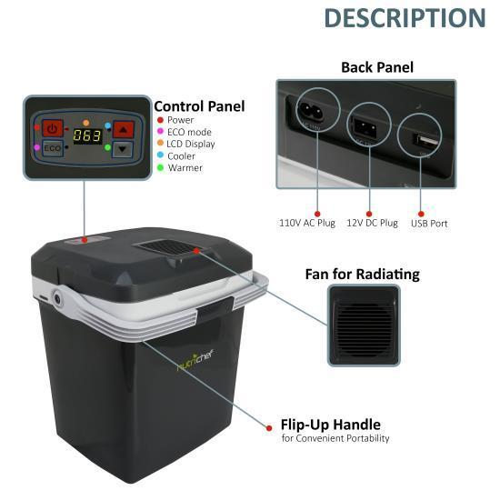 NutriChef Electric Cooler & Warmer - Mini Fridge with Thermo Heating Ability, 28+ Liter (PKTCEC28SL)