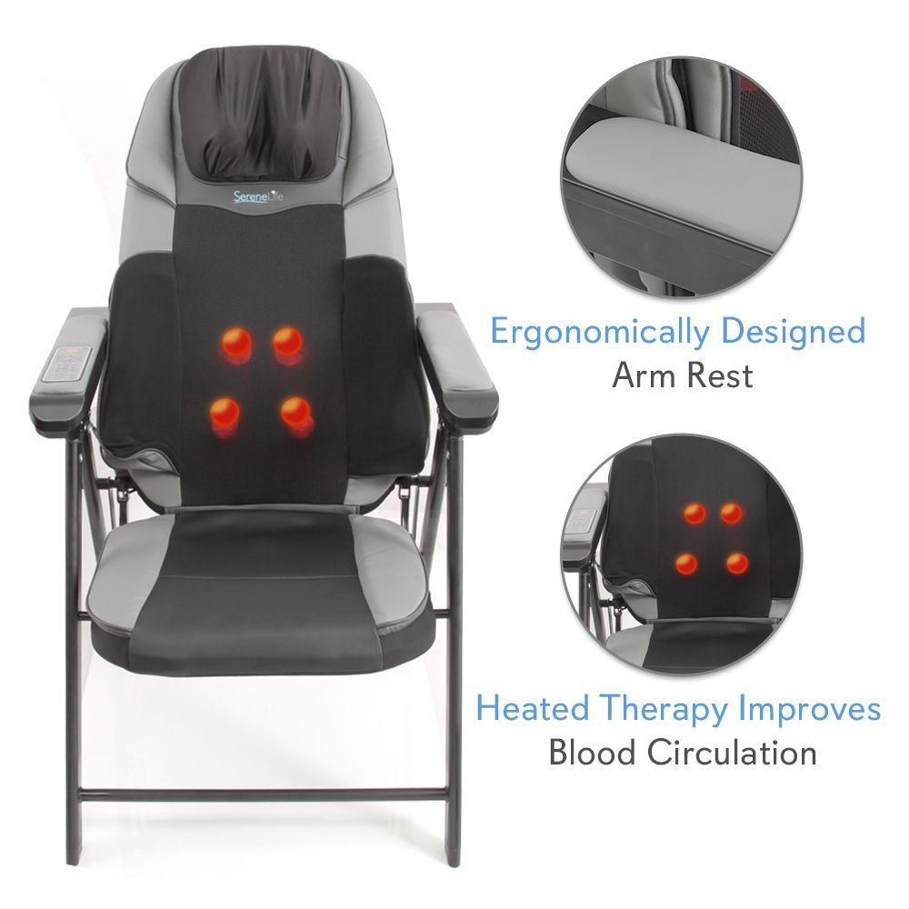 SereneLife Electric Foldable Shiatsu Massage Chair, Leather Seat, (SLMSGCH20)