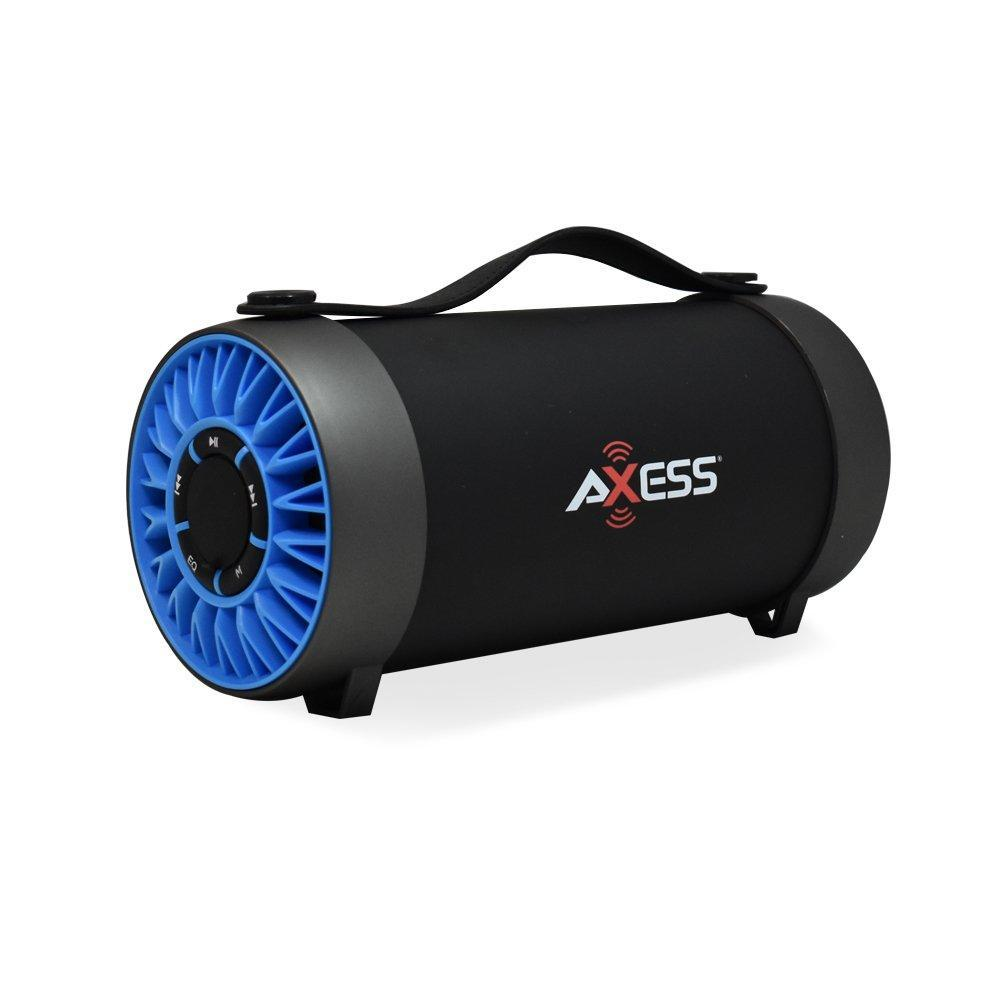 "AXESS Portable Indoor/Outdoor Bluetooth Media Speaker with Built-In FM Radio Rechargeable Battery and 4"" Subwoofer Blue (SPBT1059)"