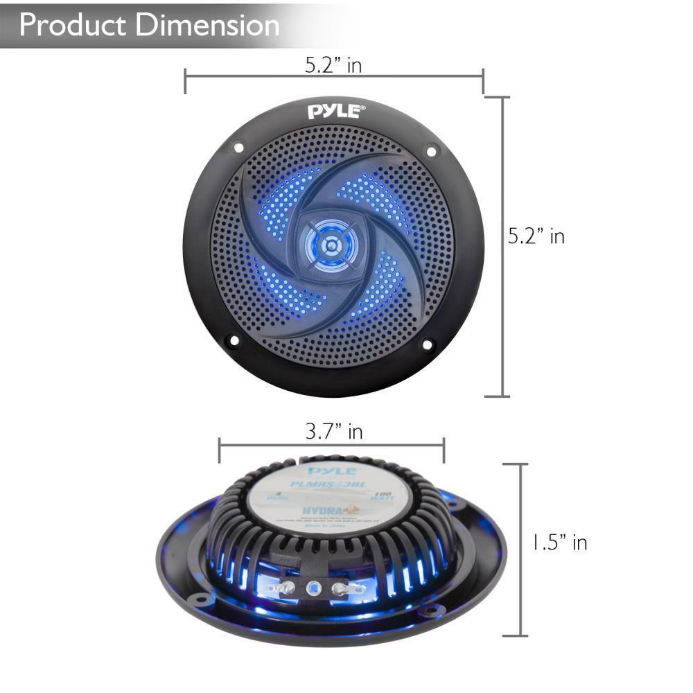 Waterproof Rated Marine Speakers, Low-Profile Slim Style Speaker Pair with Built-in LED Lights, 4.0''-inch (100 Watt)