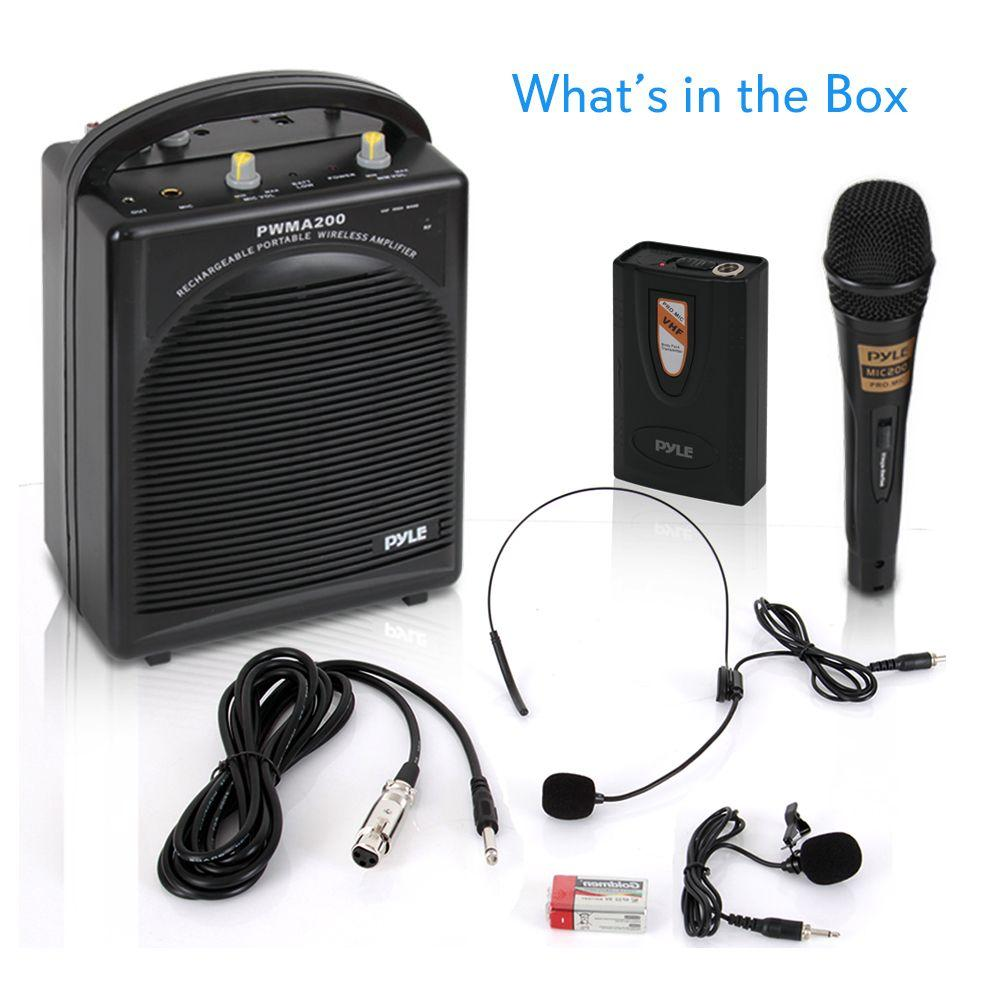 PylePro Portable PA Speaker & Microphone System Kit | FM Stereo Radio (Includes Beltpack, Handheld, Headset & Lavalier Mics) (PWMA200)