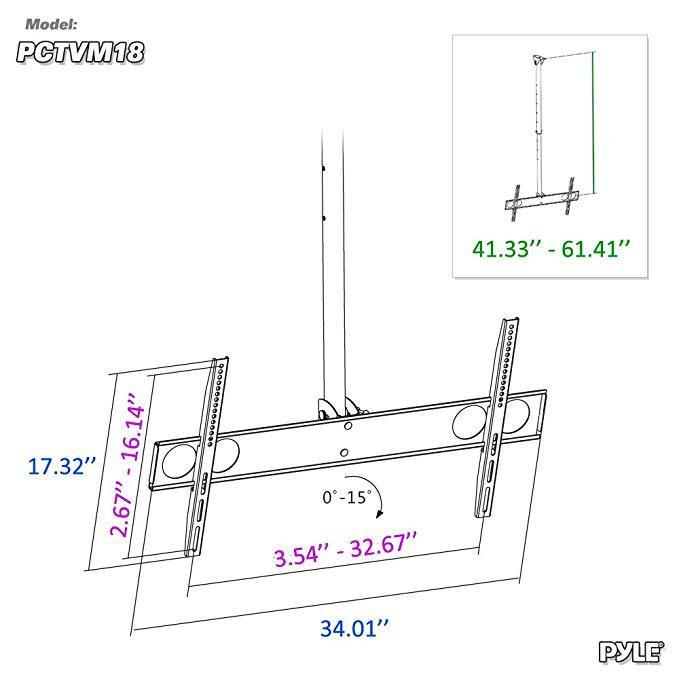 Pyle Universal TV Ceiling Mount Bracket with Adjustable Height and Tilt, Fits 37.0'' to 70.0'' TV's (PCTVM18)