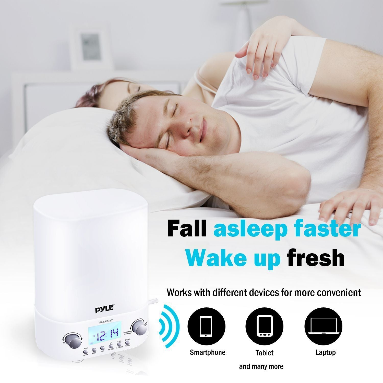 Pyle Compact Bluetooth Tabletop Alarm Clock, Stereo Speakers, LED Night Light, FM Radio, (PILCR34BT)