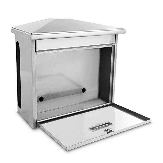 Serenelife Outdoor Universal Mount Lockable Mailbox, Large Capacity - White (SLMAB08)