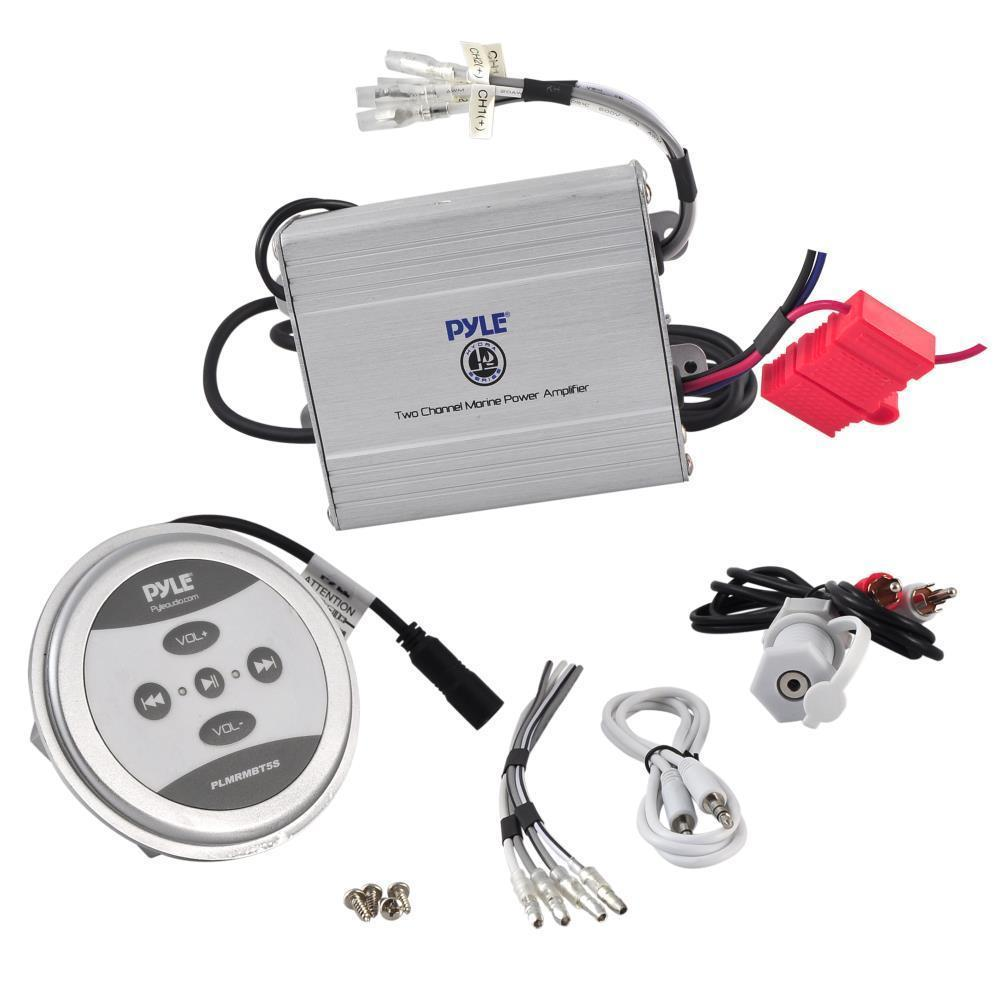 Pyle 2-Ch. Waterproof Bluetooth Marine Amplifier Kit, Marine Grade Amp, AUX/RCA/MP3 (PLMRMBT5)