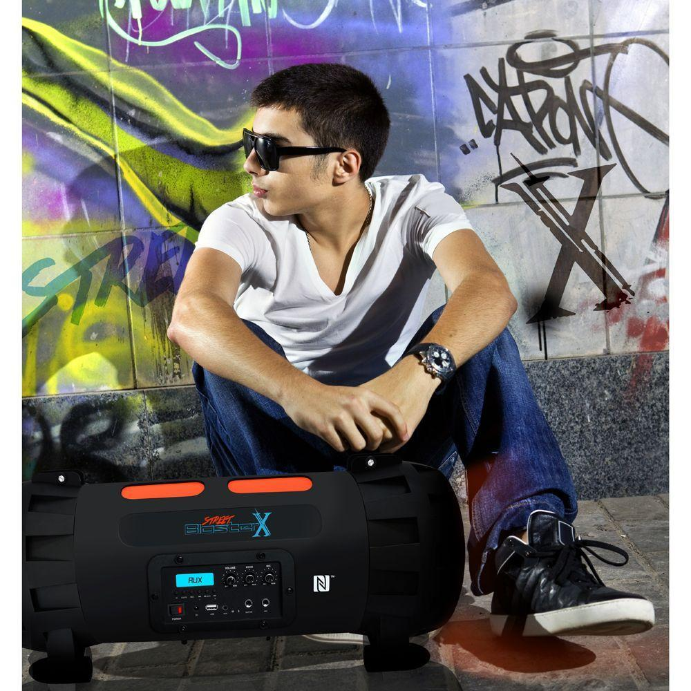 Street Blaster-X Portable BoomBox Speaker Radio with Bluetooth & NFC Wireless Streaming