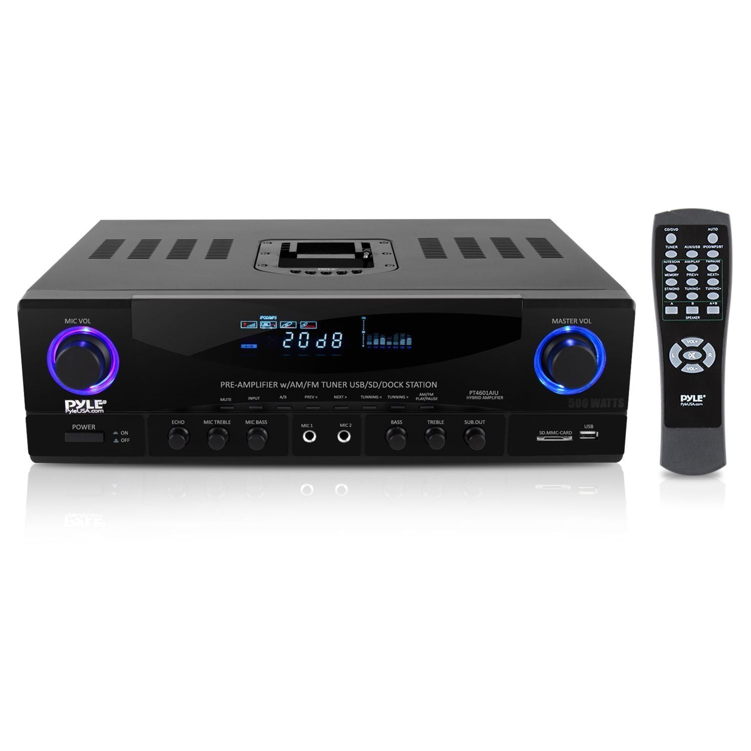 PyleHome 500 Watt Stereo Receiver AM-FM Tuner/USB/SD/Ipod Docking Station & Subwoofer Control (PT4601AIU)