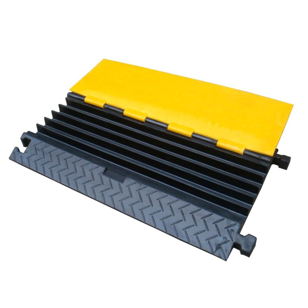Cable Protector Cover Ramp - Cord/Wire Safety Concealment Track with Flip-Open Access Lid (Five Channel Extra Wide Style)