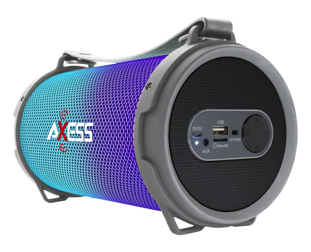 AXESS Maxi Portable Bluetooth Hi-Fi Bluetooth Speaker with Dancing LED Lights, Silver (SPBL1045SL)