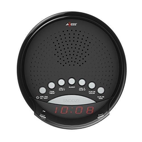 "Axess CKRD3801 Dual Alarm Clock AM/FM Digital Radio, 0.6"" red LED Display Battery Back up (Batteries are not Included)"