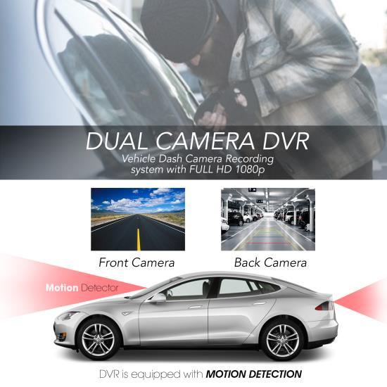Pyle Dual DVR Dash Cam System - Full HD 1080p Vehicle Dash Camera Video Recording with Waterproof Backup Cam (PLDVRCAM74)