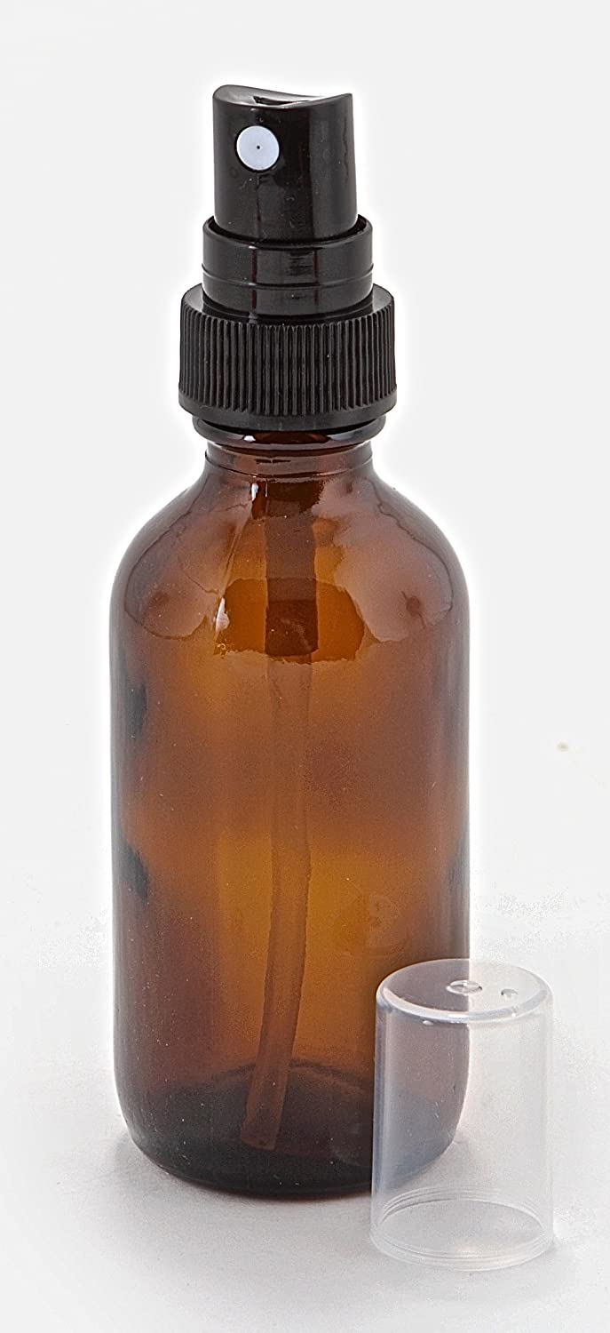 Vivaplex, 12, Amber, 2 oz Glass Bottles, with Black Fine Mist Sprayers