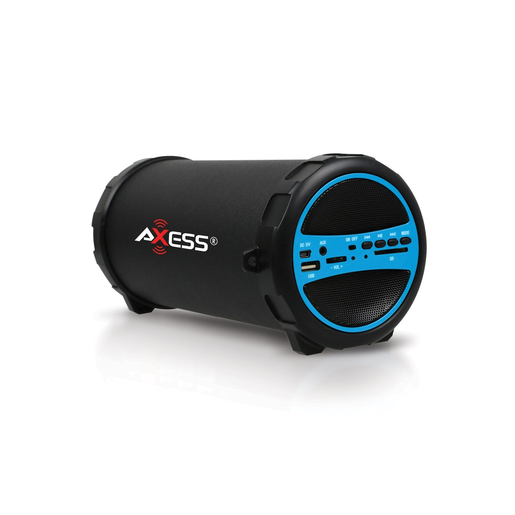 AXESS Portable Bluetooth Indoor/Outdoor Hi-Fi Cylinder Loud Speaker with SD Card and USB Input in Blue (SPBT1031BL)