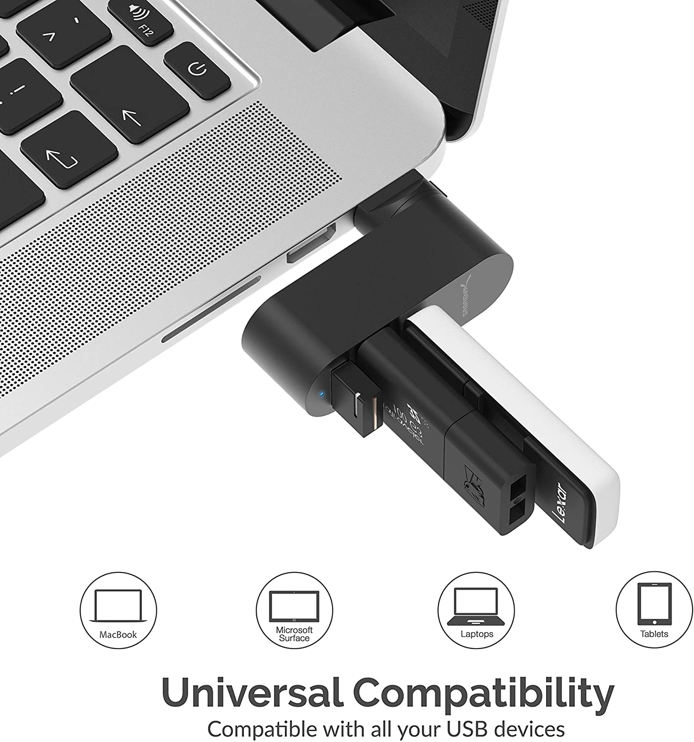Sabrent 3 Port Mini USB 3.0 Rotatable Aluminum Hub, 90°/180° Rotatable - Black (HB-R3MB)