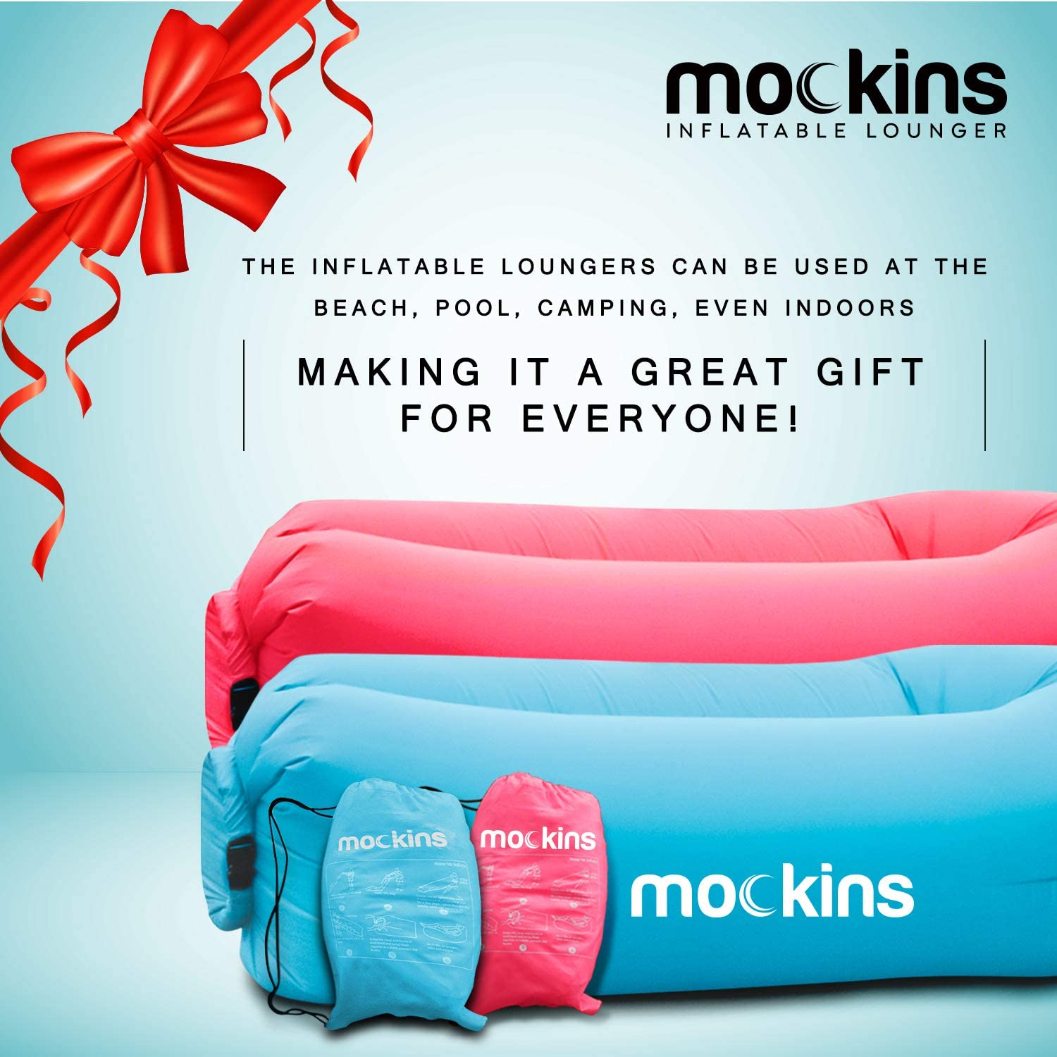 Mockins Portable Compact Inflatable Lounger, Travel Bag Pouch, 2 Pack - Blue/Pink (MMINF2PBLPNK32)