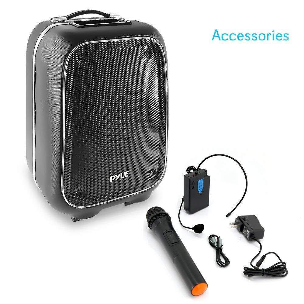 Pyle Portable PA Loudspeaker Bluetooth Stereo Speaker System, Karaoke Microphone Talkover, MP3/USB/Micro SD/FM Radio (PWMA825BT)