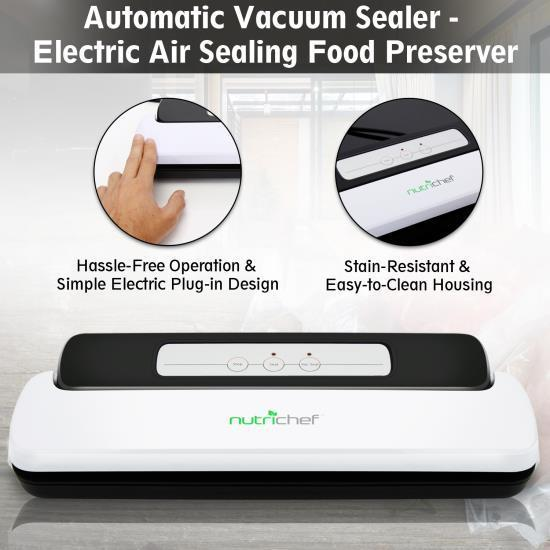 NutriChef Automatic Vacuum Sealer - Electric Air Sealing Food Preserver (PKVS10WT)