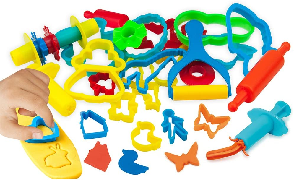 KIDDY DOUGH Tool Kit for Kids - Party Pack w/Animal Shapes - Includes 24 Colorful Cutters, Molds, Rollers & Play Accessories for Air Dry Clay & Dough