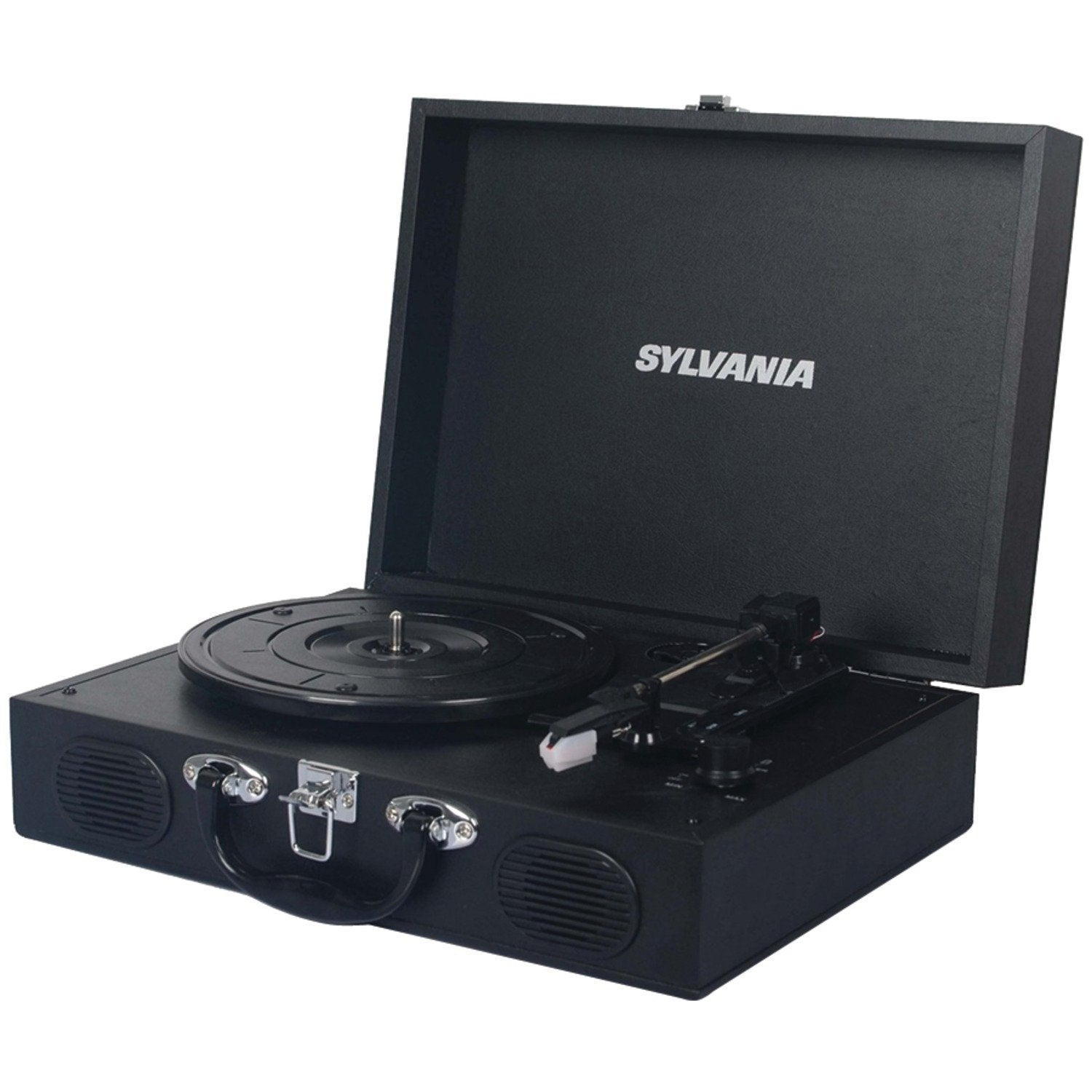 Sylvania Portable Bluetooth Encoding Turntable Record Player, Suitcase Style - Black (STT104BT)
