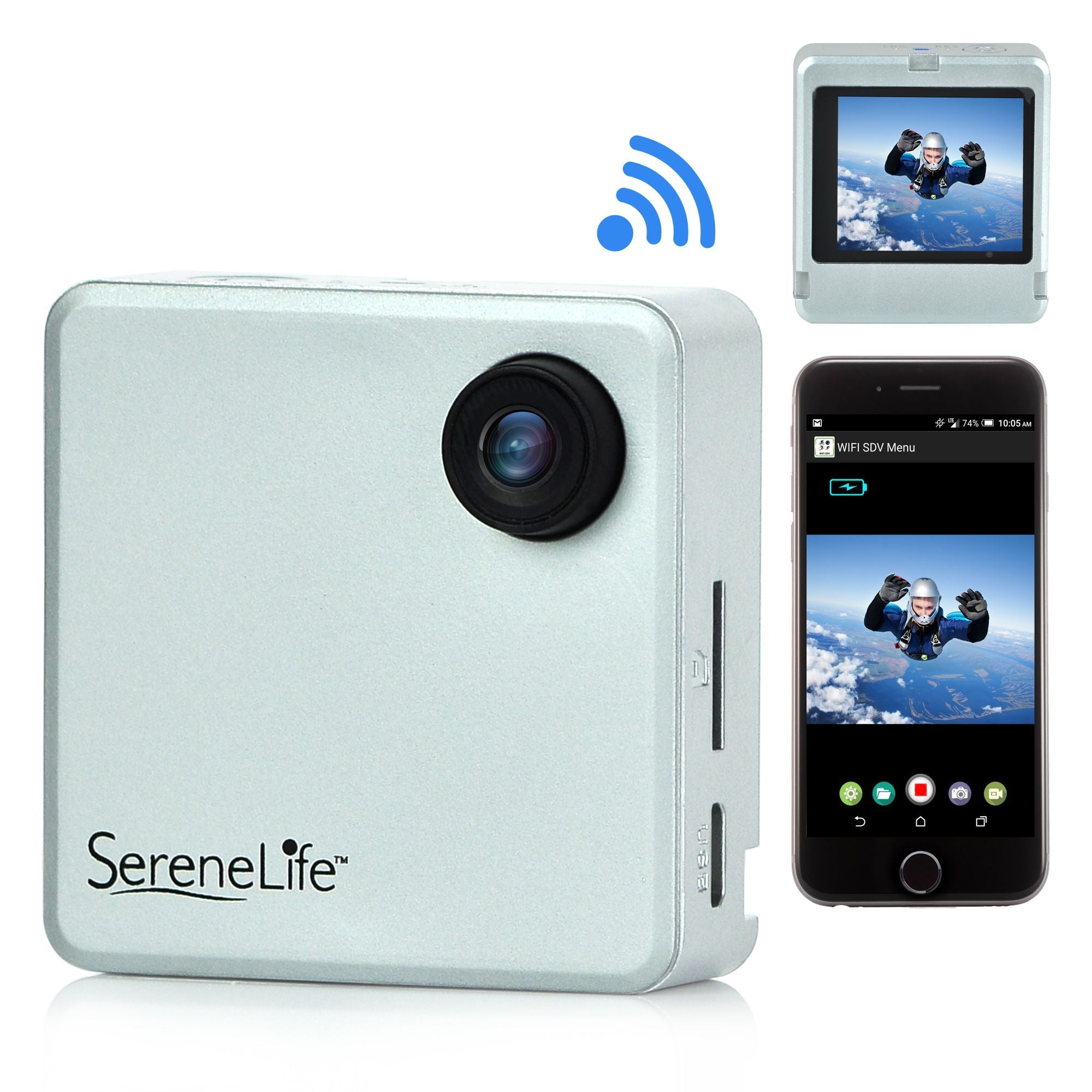 SereneLife Wireless Clip-on Compact Pocket Camera, WIFI, 1.8'' HD Screen, Rechargeable Battery - Gray (SLBCM18SL)