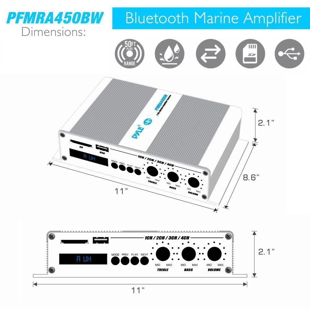 Pyle 4-Ch. Bluetooth Marine Amplifier | Weather Resistant Audio Amp System with MP3/USB/SD Readers, 400 Watt (PFMRA450BW)